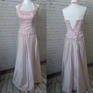 David's Bridal Prom Halter Gown, Pink, 3/4